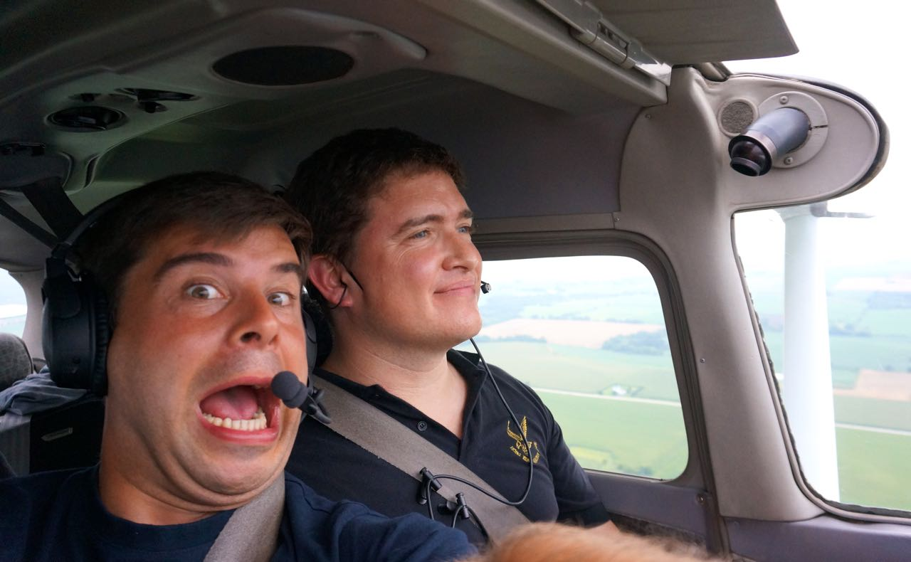 Felix and Fab in a plane.